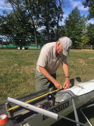 measuring catch length in a rowing shell