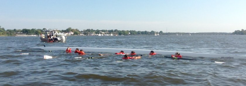 This is a picture of a capsized rowing shell